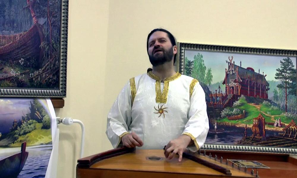 Игра на древнерусском музыкальном инструменте