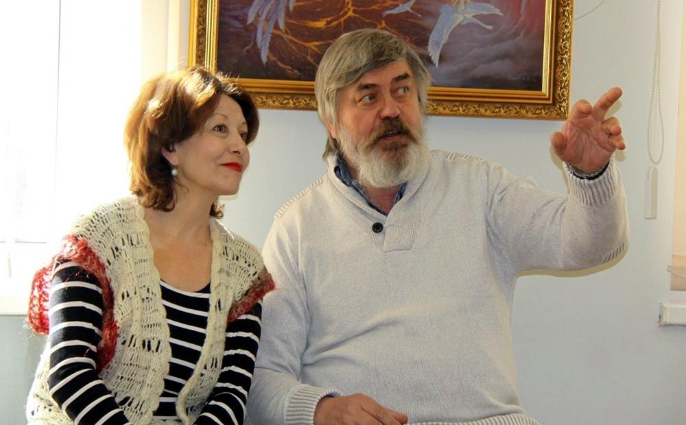 Сергей Алексеев на открытии выставки художника Александра Угланова в Твери 2 апреля 2014 года